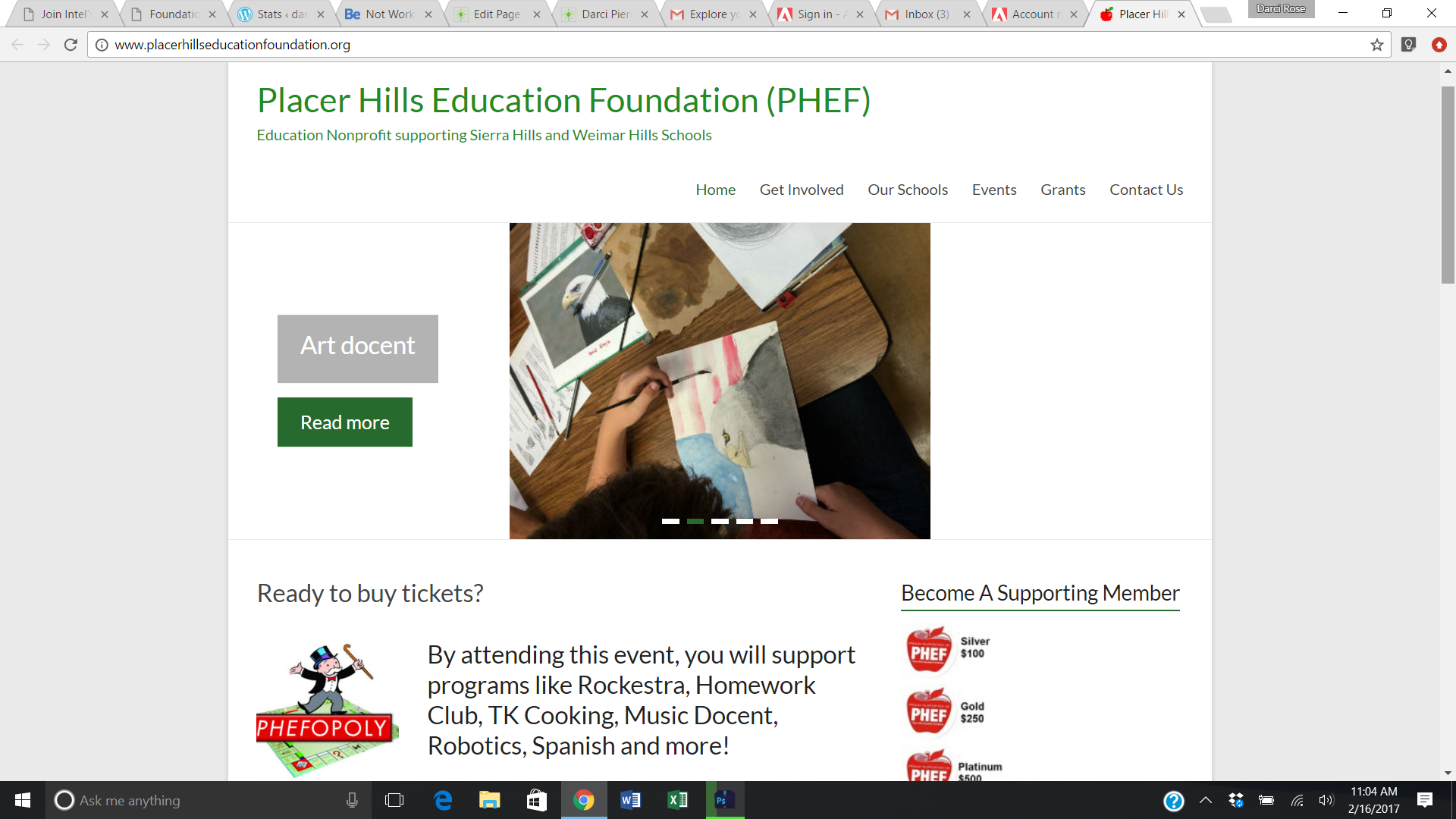 placerhillseducationfoundation.org (PHEF) project